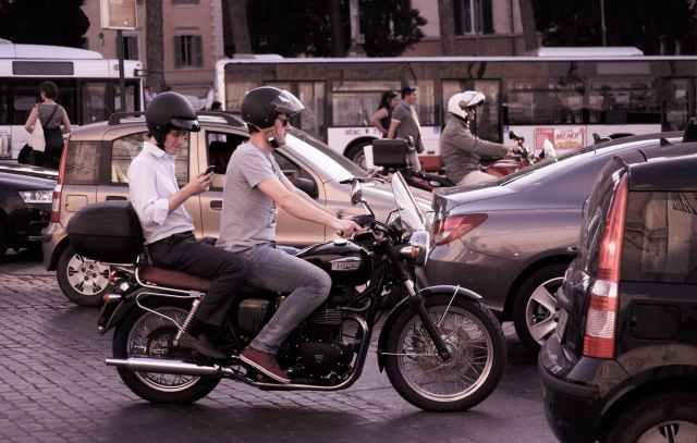 city traffic people smartphone